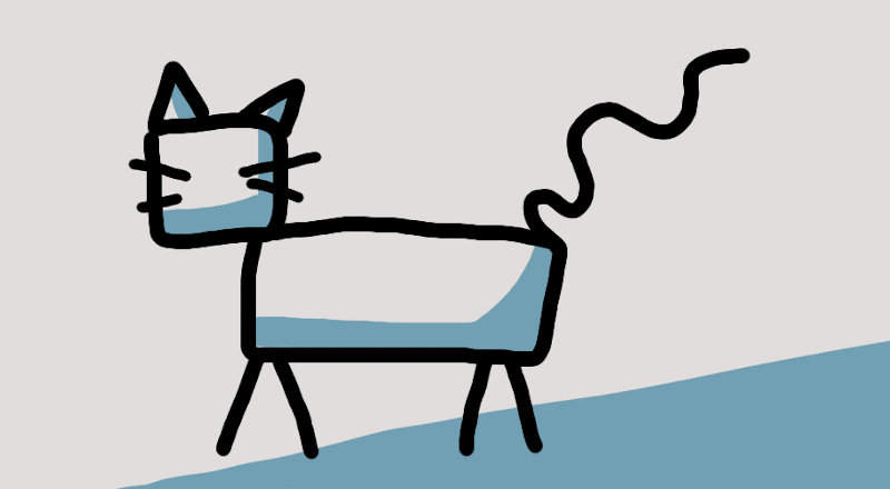 Simple stick figure drawing of a cat