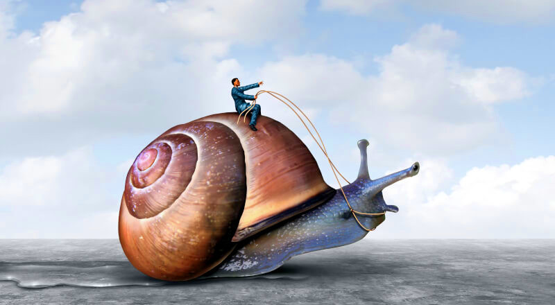 Illustration of a man sitting on a snail trying to cheer it on to go faster